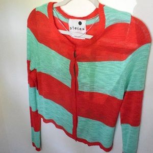 Kensie mint and red knit cardigan